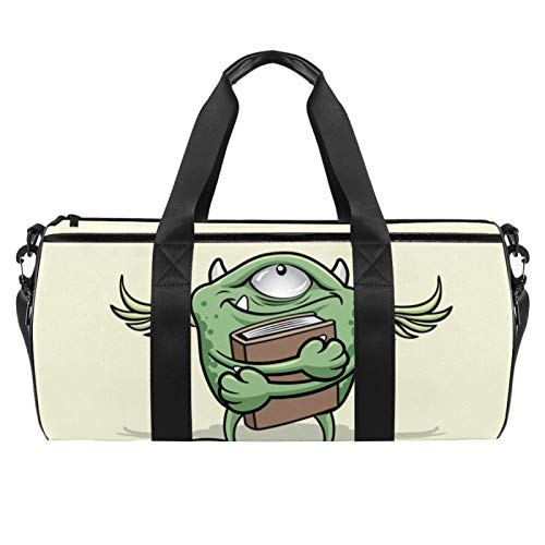 Z&Q Sporttasche Junge Kinder Cartoon Einäugiges Monster Sportbeutel mit Umhängeriemen und wasserdichte Schicht/Mittlere Größe Sportsbag, 24L 45x23x23cm