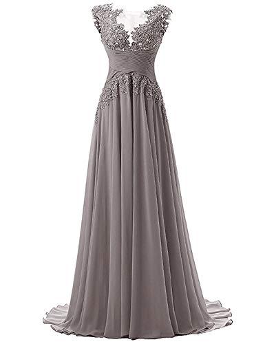 Abendkleider Lang A-Linie Ballkleider Brautjungfernkleider Spitzen Hochzeitskleid Empire Festkleider Grau 48
