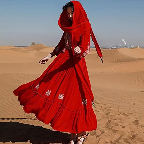 chushi Vestidos de Mujer Retro Bordado Mujer Vestido con Cuello En V...