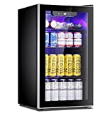 Antarctic Star Beverage Refrigerator Cooler - 100 Can Mini Fridge Glass Door for Soda Beer or Wine – Glass Door Small Drink Dispenser Machine Adjustable Clear Front for Home, Office or Bar, 3.2cu.ft.