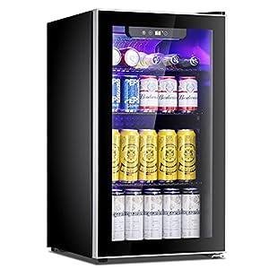 Antarctic Star Beverage Refrigerator Cooler – 100 Can Mini Fridge Glass Door for Soda Beer or Wine – Glass Door Small…