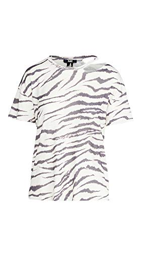 Paige Damen Slashed RYO Tee T-Shirt, Gardenia/Black Zebra, Klein