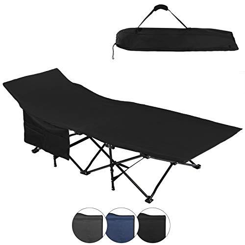 ALPIDEX Feldbett Campingbett Klappbar 190 x 67 x 52 cm Belastbar bis 120 kg Seitentasche Transporttasche Tragbar Faltbar, Farbe:Black