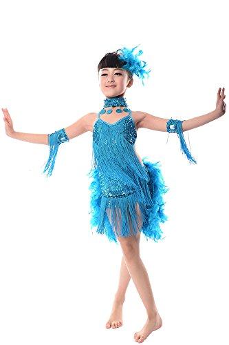 BOZEVON Enfants Filles Latin Pailletée Tassel Danse de Robe Salsa Cha Cha Tassel Tango Vêtements