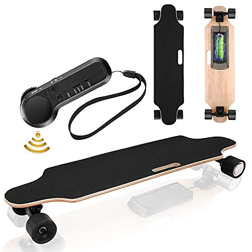 Electric Skateboard Youth Electric Longboard with Wireless Remote Control, 12 MPH Top Speed, 10 KM Range, 7 Layers Maple Longboard(US Stock)