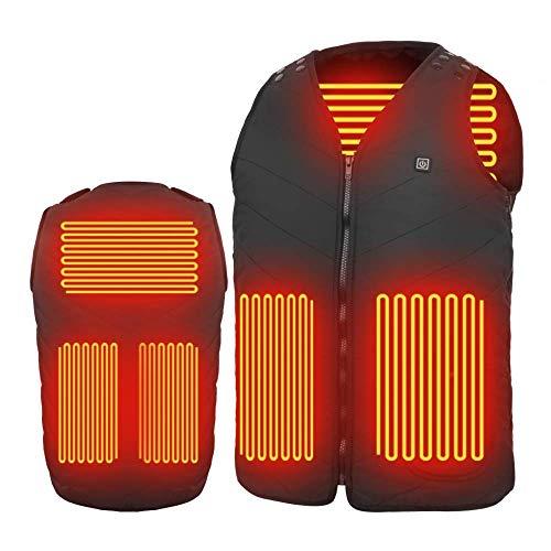 MIROCOO Chaleco Calefactable para Hombre Mujer - sin batería Chaquetas con Calefacción USB Eléctrico con 3 Niveles de Temperatura, Chaleco Térmico Pescar, Senderismo - Tamaño Ajustable, Lavable