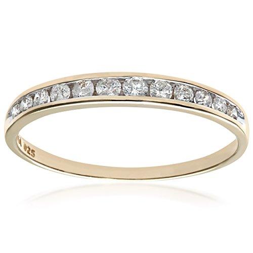 Naava Bague, Anillo para Mujer de Oro 9K con 12 Diamantes 0.02 ct, Oro amarillo, 10 1/4