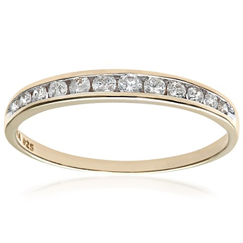 Naava Women's 9 ct Yellow Gold 0.25 ct Diamond Channel Set Half Eternity Ring, Size R