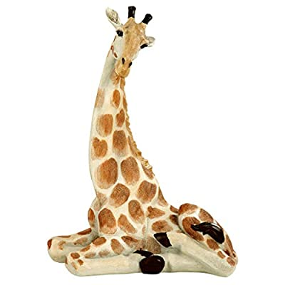 Design Toscano EU1015 Zari The Resting Giraffe African Decor Garden Statue, 20 Inch, Full Color