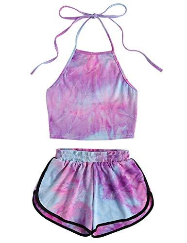 Xindian Tie-Dye Gradient Halter Crop top y pantalones cortos, conjunto de dos piezas para mujer de verano tanques camis trajes de día festivo, 0, Polipropileno, small