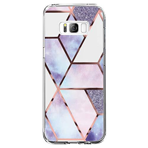 Riyeri Hülle Compatible with Samsung Galaxy S8 Hülle Klar Slim TPU Silikon Bumper Handyhülle für Samsung S8 Plus - Marmor & Blume (S8, 30)