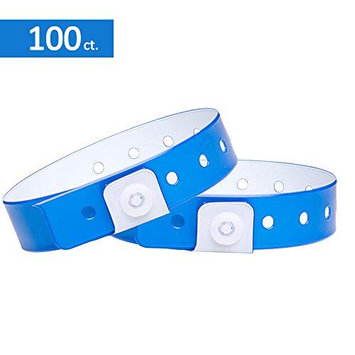 Ouchan Braccialetti di colori assortiti in plastica, confezione da 100,per eventi, discoteca, feste, festival, Neon Blue