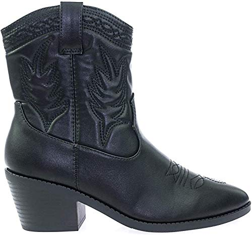 Soda Picotee Women Western Cowboy Cowgirl Stitched Ankle Boots (Black PU, numeric_8_point_5)
