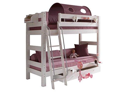 DOLPHIN Moby Etagenbett Weiß mit schräger Leiter und 2x Rolllattenrost 8072-5