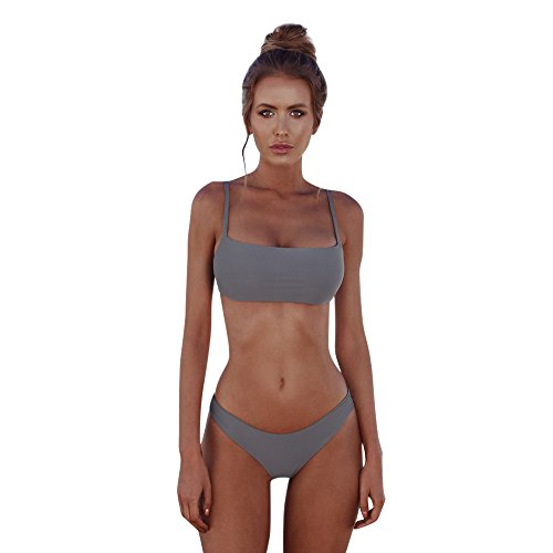 Beonzale 2019 Summer Damen Bikini Günstig Women Bandeau Bandage Bikini Set Push-Up Brazilian Swimwear Swimsuit Beachwear (L, Grau)