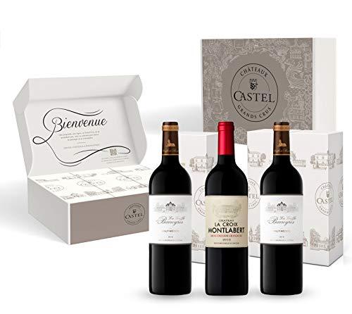 Coffret Cadeau - Vin Rouge - Vins de Bordeaux Médaillés Concours Général Agricole Paris - Griffe de Barreyres 2018 - Croix de Montlabert 2016 Saint Émilion Grand Cru - 3x75cl