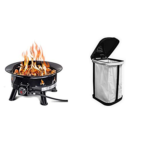 Outland Living Firebowl 883 Mega Outdoor Propane Gas Fire Pit with UV and Weather Resistant Durable Cover, 24-Inch Diameter 58,000 BTU & Stormate Collapsible Garbage Bag Holder - Thetford 36773