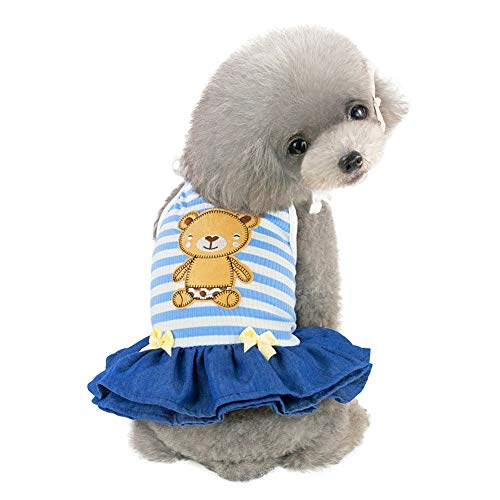 EtophHigh Pet prinsessenjurk, lente, zomer, gestreept & Bear Sling Rok jurk zonder mouwen voor kleine, middelgrote hondenkostuums, S, Blauw