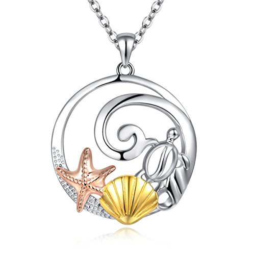 Beach Ocean Life Pendant Necklace Sea Turtle Starfish Golden Shell Sterling Silver 925 Chain 16-17-18'