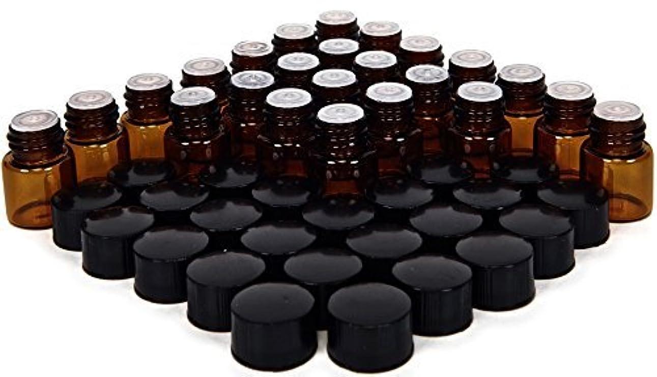 カラスアクション黒くする24, Amber, 1 ml (1/4 Dram) Glass Bottles, with Orifice Reducers and Black Caps [並行輸入品]