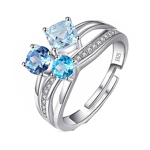 1.7ct Multi Color Genuino Piedra Preciosa Topacio Azul Topacio Blanco Anillo Ajustable Abierto de 3 Piedras Plata de Ley 925