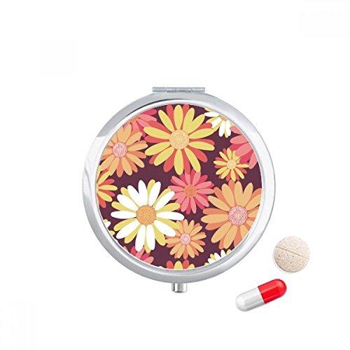 DIYthinker Red Yellow Flower Plant Pattern Travel Pocket Pill Case Medicine Drug Storage Box Dispenser Mirror Gift 7.0Cm Diameter X 1.2Cm Height Silver