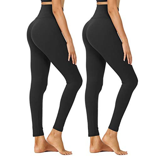 HIGHDAYS High Waisted Leggings for Women - Tummy Control 4 Way Stretch Pants for Athletic Workout Yoga (Black, Black, Large-X-Large)