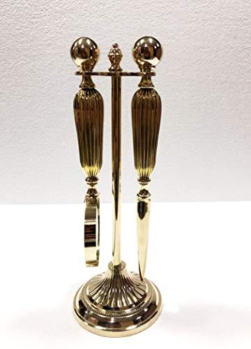Juego de 2 lupas decorativas de latón brillante y abrecartas con soporte...