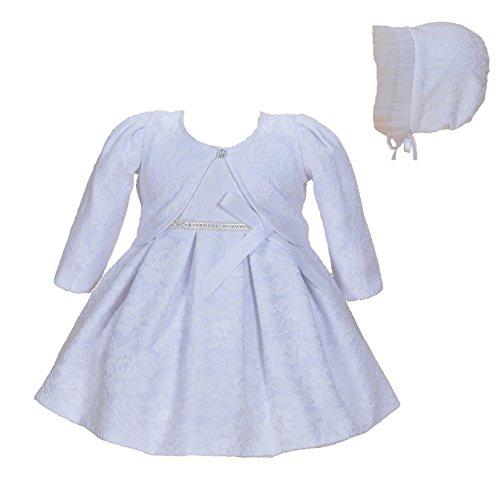 Cinda Bebé niñas Bautizo Fiesta Vestido de Encaje con bonete Blanco 3-6 Meses(con Bolero)