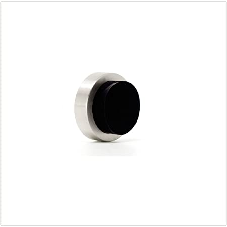 HERRAJES EVI I-205/24 Tope de Puerta, INOX Mate-Goma Negra, 24x14mm