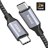 USB C auf USB C Kabel 2M,Nimaso USB Typ C 100W 20V/5A PD Schnellladekabel mit E-Mark Chip Ladekabel...