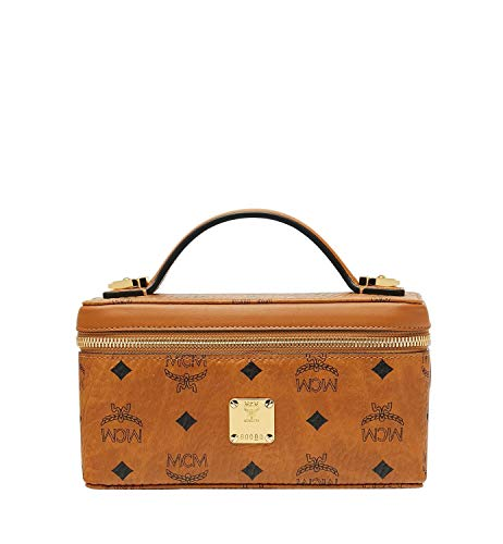 Keep your cosmetic accessories protected and pristine in this stylish MCM™ Visetos Original Cosmetic Case. Durable coated canvas cosmetic case. Dual top zipper closure. Iconic brand logo detail printed throughout. Flat top carry handle. Hardware plaq...