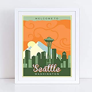 Lee Tee Seattle Washington Travel Poster Gift for Men Woman Poster Home Art Wall Posters [No Framed]