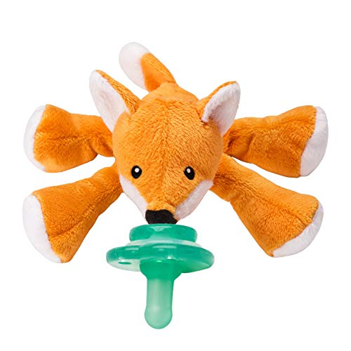 Nookums Paci-Plushies Shakies - Pacifier Holder with Built in Rattle (2 in 1)- Adapts to Name Brand Pacifiers, Suitable for All Ages, Plush Toy Includes Detachable Pacifier (Fox)
