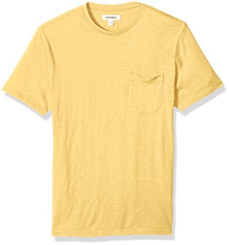 Marca Amazon – Goodthreads – Camiseta ligera con cuello redondo de algodón flameado para hombre, Amarillo (Gold Gol), US M (EU M)