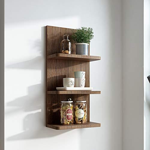 EMKE Wandregal, DREI Etagen Vintage hängendes Holzregal Walnuß schwimmendes Regal 30x60x15cm bis 10 kg Jede Etage, für Küche, Bilderrahmen