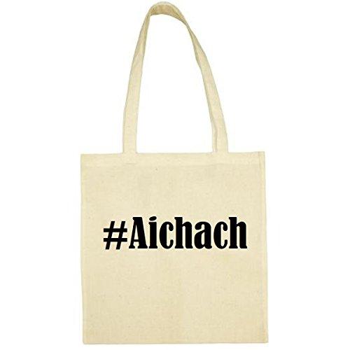 Tasche #Aichach Größe 38x42 Farbe Natur Druck Schwarz