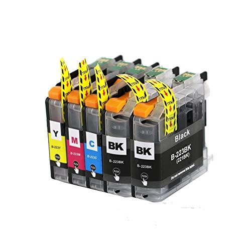 Abakoo 5 cartuchos de impresora XXL ProSerie de repuesto para Brother LC221/LC223/LC225/LC227 con chip V3 (1 cian, 1 magenta, 1 amarillo y 2 negros).