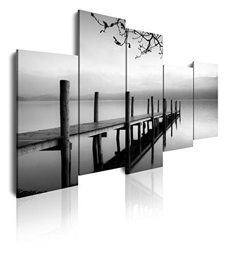 DekoArte 91 - Cuadros Modernos Impresión de Imagen Artística Digitalizada | Lienzo Decorativo para Salón o Dormitorio | Estilo Zen Blanco y Negro con Paisaje de Agua Embarcadero | 5 Piezas 150x100cm