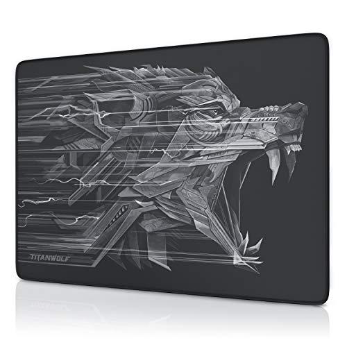 CSL - XXL Speed Gaming Mauspad Titanwolf 250 x 350mm - XXL Mousepad - Tischunterlage Large Size - verbessert Präzision und Geschwindigkeit