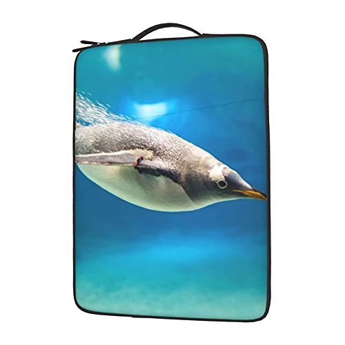 MBNGGAB Underwater Penguins Laptop Sleeve Case, Laptops Sleeve Water Resistant Portable Computer Carrying Case Notebook Computer Tablet Bags for Men Women 13/14/15.6 inch