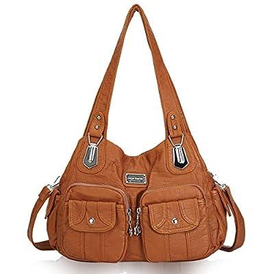 Angel Barcelo Women Top Handle Satchel Handbags Shoulder Bag Messenger Tote Washed Leather Purse Brown