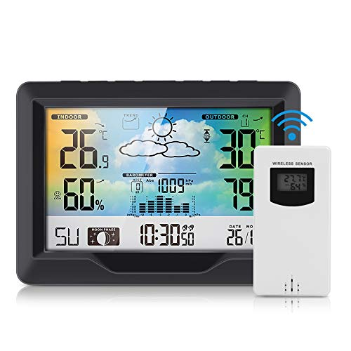 nobrand Powcan Wetterstationen Wireless Indoor Outdoor mit Alarm und Temperatur/Luftfeuchtigkeit/Luftdruck/Vorhersage/Mondphase/Wecker, Digitale LCD-Wetterstation (schwarz)