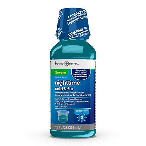 Amazon Basic Care Vapor Ice Nighttime Severe Cold and Flu, Pain Reliever and Fever Reducer, Nasal Decongestant, Antihistamine and Cough Suppressant, 12 Fluid Ounces