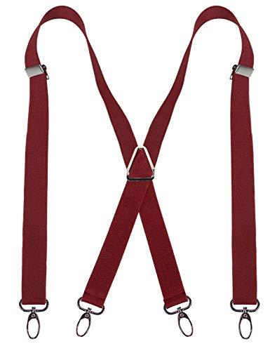 Alizeal - Tirantes para hombre (1 pulgada), diseño de X, 4 ganchos giratorios