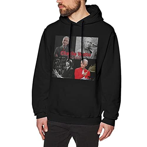 Rip Charlie Watts Hoodies Men'S Hooded Sweatshirts 3d Print Vintage Hoodie And Pullover Hoodies For Men Loose Long Sleeve Tops Sport Outwear X-Large Black