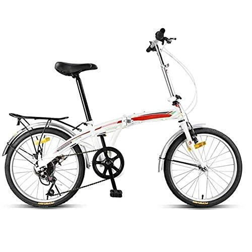 HUAQINEI Bicicleta Plegable de montaña con Sistema Plegable, Bicicleta Plegable de Ciudad, Talla única para Hombres, Mujeres, niños, Adecuada para Todas Las Marchas de 7 velocidades, Color Blanco