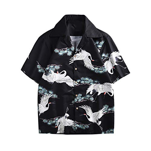 Review 2019 Summer Men's Hawaiian Flower Print Relaxed-Fit Shirts Casual Button-Down Short Sleeve ...