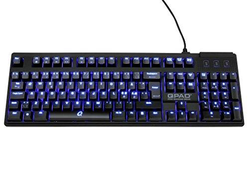 Qpad MK 70 Gaming Tastatur (Blau Beleuchtete Cherry MX Tasten, USB, Media Tasten, QWERTZ Layout) schwarz