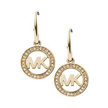 Michael Kors Gold-Tone MK Logo Drop Earrings